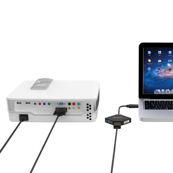 Orico Port d'écran vers adaptateur HDMI, DVI et VGA - longueur du câble: 17 cm - Vidéo et audio - 1920 x 1080P - Noir