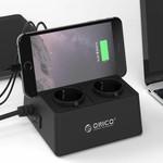 Orico Buchse mit USB-Lade Ports 5 und 2-Sockel - Tablet / Smartphone Stand - 2500W - Inkl. Ein / Aus-Schalter und Überspannungsschutz - Schwarz