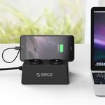 Orico Barrette d'alimentation avec 5 ports de chargement USB et 2 prises - Tablette / Smartphone Standard - 2500W - Incl. interrupteur marche / arrêt et parasurtenseur - Noir
