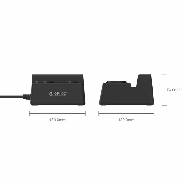 Orico Stekkerdoos met 5 USB-Laadpoorten en 2 Stopcontacten - Tablet/Smartphone Standaard - 2500W - Incl. aan/uit schakelaar en overspanningsbeveiliging - Zwart