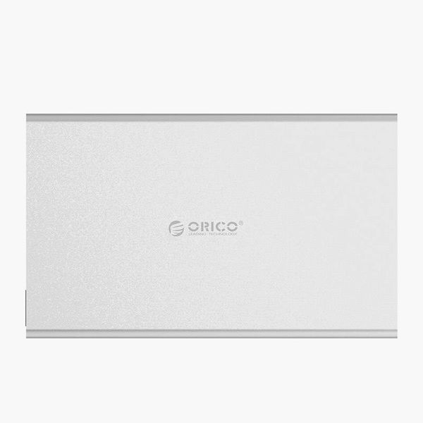 Orico Aluminum hard drive enclosure for 2.5 inch hard drives - HDD / SDD - SATA 3 - 5Gbps - Incl. cable - LED indicator - Mac Style - Silver