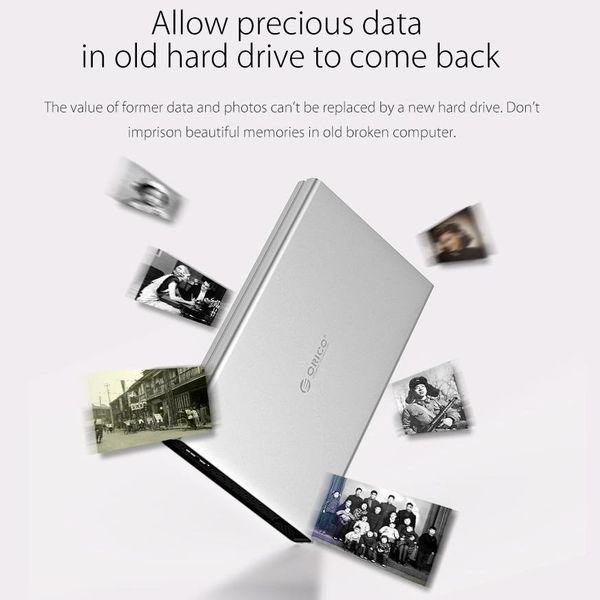 Orico Aluminium-Festplattengehäuse für 2,5-Zoll-Festplatten - HDD / SDD - SATA 3 - 5 Gbit / s - Inkl. Kabel - LED-Anzeige - Mac Style - Silber
