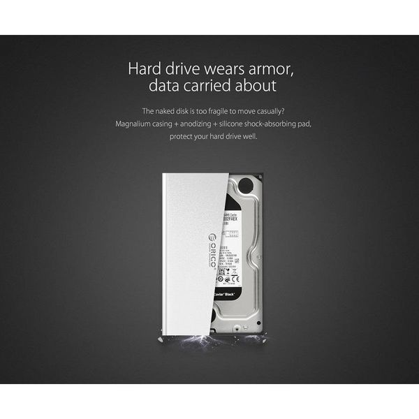 Orico Boîtier de disque dur en aluminium pour disques durs de 2,5 pouces - HDD / SDD - SATA 3 - 5Gbps - Incl. câble - Indicateur LED - Style Mac - Argent