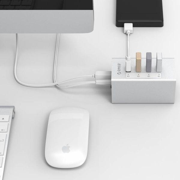 Orico Aluminium USB 3.0 Hub met 4 Poorten - Incl. 12V Stroomadapter en USB 3.0 kabel - Mac Style - 5Gbps - Zilver