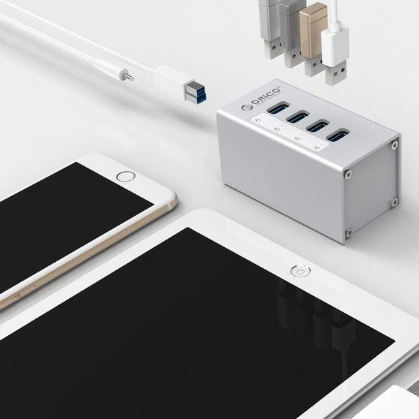 Orico Aluminium hub USB 3.0 avec quatre ports - Incl. adaptateur secteur 12 V et câble USB 3.0 - Mac Style - 5Gbps - Argent