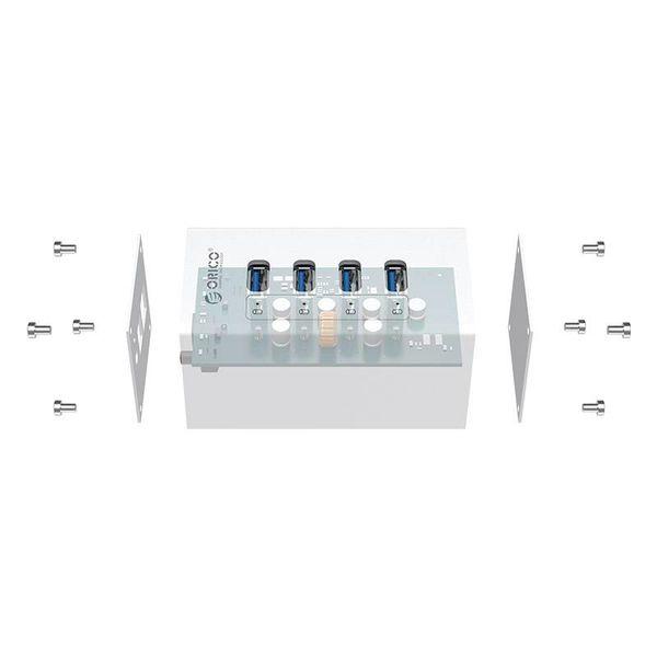 Orico Aluminium USB 3.0-Hub mit vier Ports - Inkl. 12V Netzteil und USB-3.0-Kabel - Mac Style - 5 Gbps - Silber