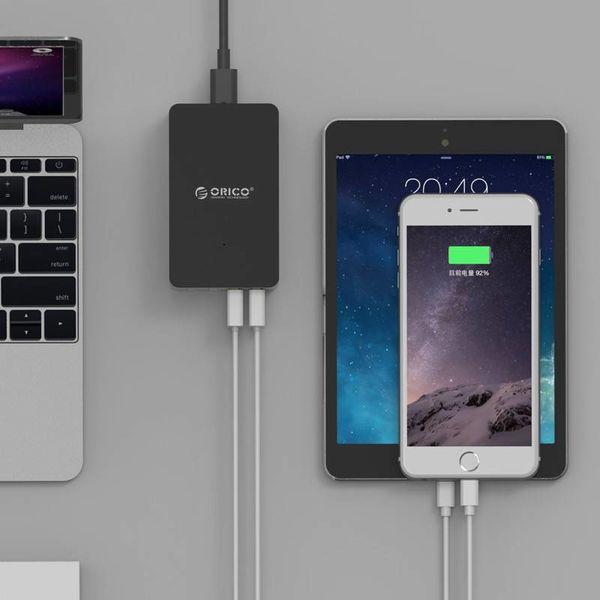 Orico Intelligentes Desktop-Ladegerät mit 5 USB-Ladeanschlüssen - IC-Chip - 40 W - Zum Laden verschiedener 5-V-Geräte - Schwarz / Grau