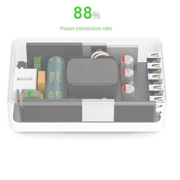 Orico Chargeur de bureau intelligent avec 5 ports de chargement USB - Puce IC - 40W - Pour charger divers appareils 5V - Noir / Gris