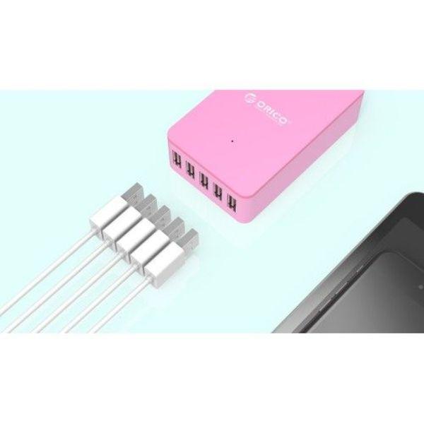 Orico Intelligentes Desktop-Ladegerät mit 5 USB-Ladeanschlüssen - IC-Chip - 40 W - Pink