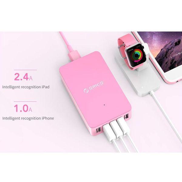 Orico Chargeur de bureau intelligent avec 5 ports de chargement USB - Puce IC - 40W - Rose