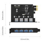 Orico PCI Express expansion card - 4x USB 3.0 type-A ports - 5Gbps - Works with all Windows versions, Linux and Mac OS 10.8.3 - Incl. Screws - Black