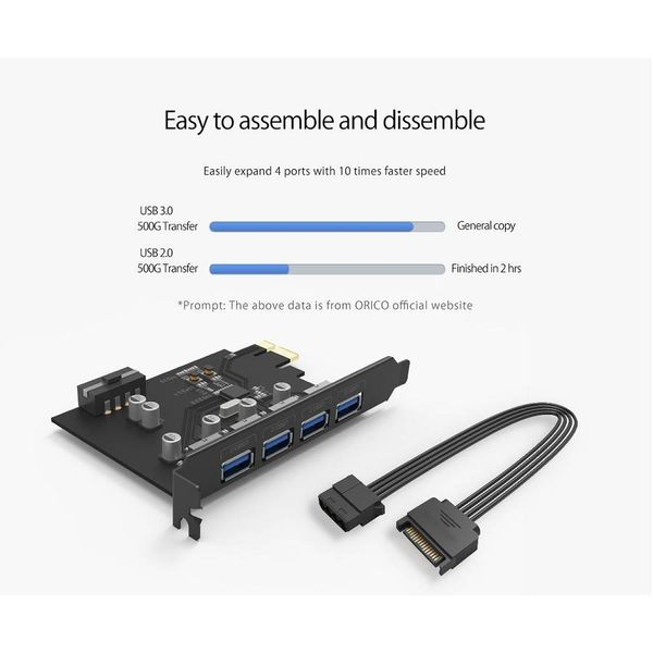 Orico Carte d'extension PCI Express - 4 ports USB 3.0 de type A - 5 Gbit / s - Fonctionne avec toutes les versions de Windows, Linux et Mac OS 10.8.3 - Incl. Vis - Noir
