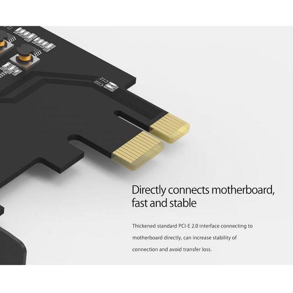 Orico PCI Express uitbreidingskaart – 4x USB 3.0 type-A poorten – 5Gbps – Werkt met alle Windows versies, Linux en Mac OS 10.8.3 – Incl. Schroeven – Zwart