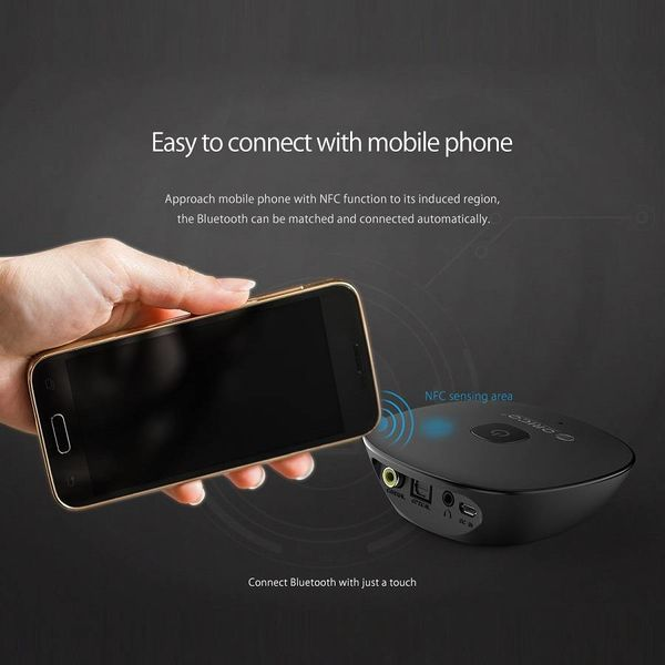 Orico Bluetooth 4.1 Audio Receiver with 3.5mm Audio Output - Special NFC Function - 10M Transmission Range - On / Off Switch - LED Indicator - Black