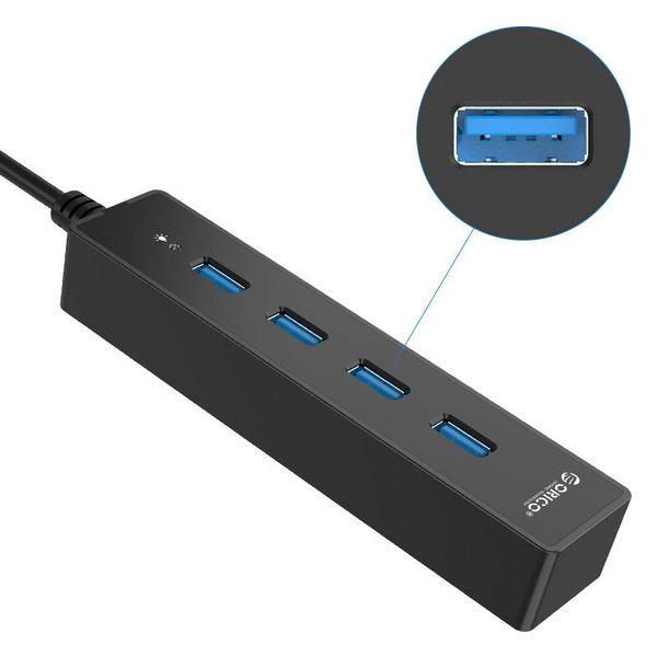 Orico HUB USB3.0 avec 4 ports pour Windows et Mac OS - 5 Gbit / s - Puce VIA - Indicateur LED - Noir