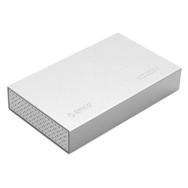 Orico Aluminum 3.5 inch Hard Drive Enclosure - USB 3.0 Type-B / SATA interface - Supports UASP - Mac Style - Silver
