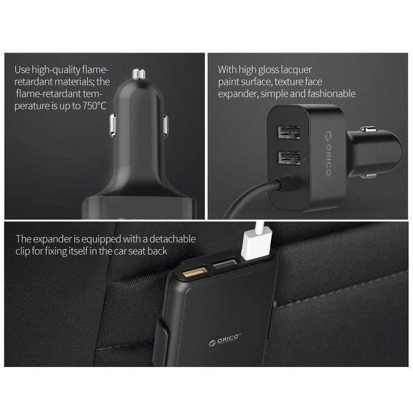 Orico Autoladegerät mit 5 USB 3.0-Ladeanschlüssen, 1 mit Quick Charge 3.0 - Inkl. Clip zur Befestigung an der Rückenlehne - Intelligenter Chip - DC12-24V - 52W - schwarz