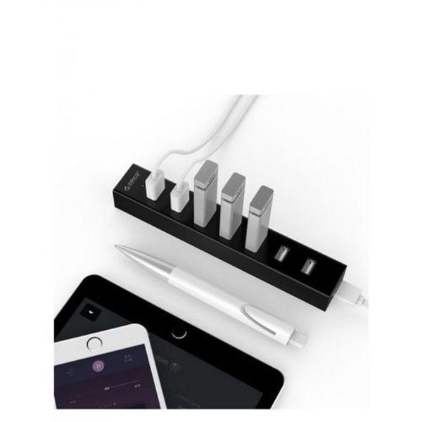 Orico USB Hub met 7 poorten voor Windows, Linux en Mac OS – Via-Labs Controller – LED-indicator – Zwart