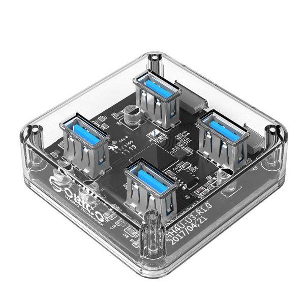 Orico Hub transparent USB3.0 avec 4 ports - 5 Gbps - Indicateur LED spécial - Câble 30cm