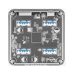 Orico Hub USB3.0 transparent avec 4 ports - 5 Gbps - Indicateur LED spécial - Câble de données de 30 cm