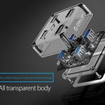 Orico Transparenter USB3.0 Hub mit 4 Ports - 5 Gbit / s - Spezielle LED-Anzeige - 30 cm Datenkabel