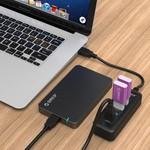 Orico Mini USB 3.0 Hub met 4 Poorten – Ingebouwde USB 3.0 kabel van 20CM – 5Gbps – LED-indicator – Zwart.