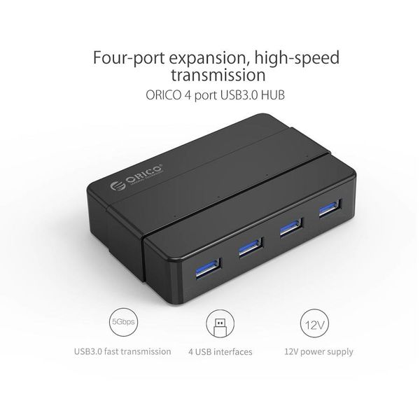 Orico USB 3.0 Hub with 4 type-A ports - 4x LED indicators - 5Gbps - 100CM USB3.0 Data cable - Incl. 12V-2A power adapter - for Windows, Linux and Mac OS - Black