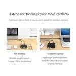 Orico Hub USB 3.0 avec 4 ports de type A - 4 indicateurs LED - 5 Gbit / s - 100CM Câble de données USB3.0 - Incl. Adaptateur secteur 12V-2A - pour Windows, Linux et Mac OS - Noir