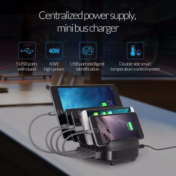 Orico Station d'accueil multi-chargeur 40 W Station de chargement USB à 5 ports - Noir