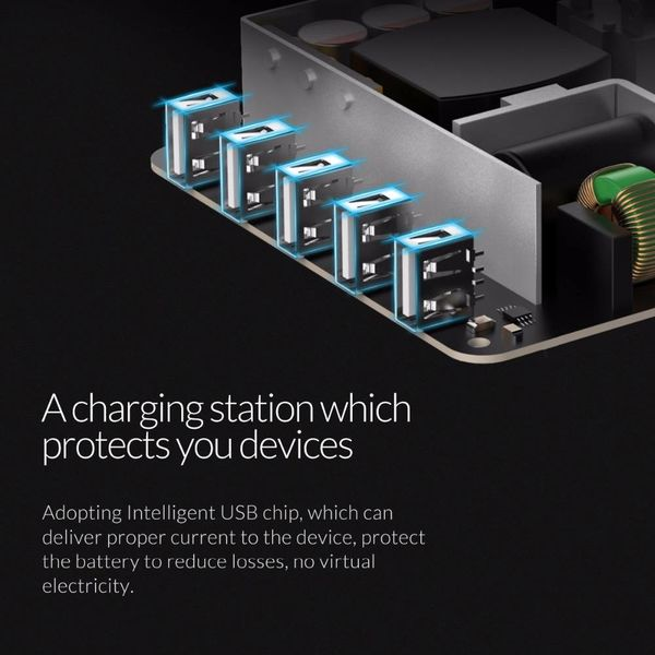 Orico 40W Dockingstation mit mehreren Ladegeräten 5-Port-USB-Ladestation - Schwarz