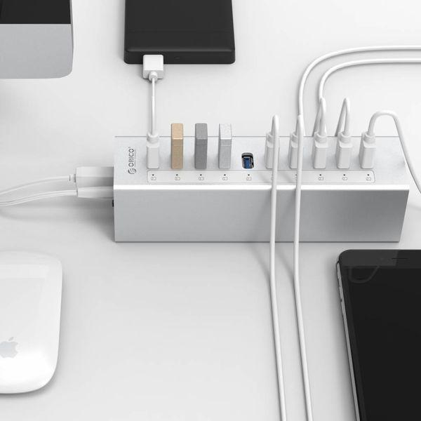 Orico Aluminium USB3.0  HUB met 10 poorten - Zilver