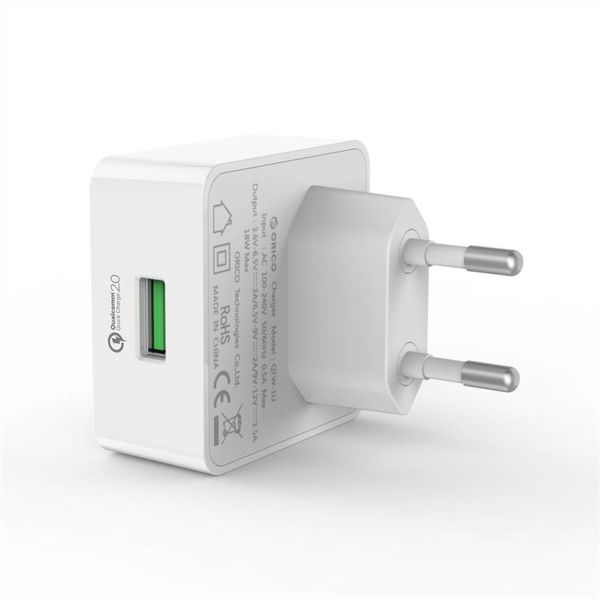 Orico USB thuislader met Quick Charge 2.0 laadpoort - 5V/9V/12V - Max 18W - Intelligente Chip - Wit
