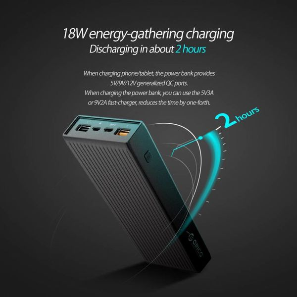 Orico Universele Quick Charge Powerbank - 10000mAh -compatibel met Type C  - Li-Po batterij - LED-indicator - Zwart