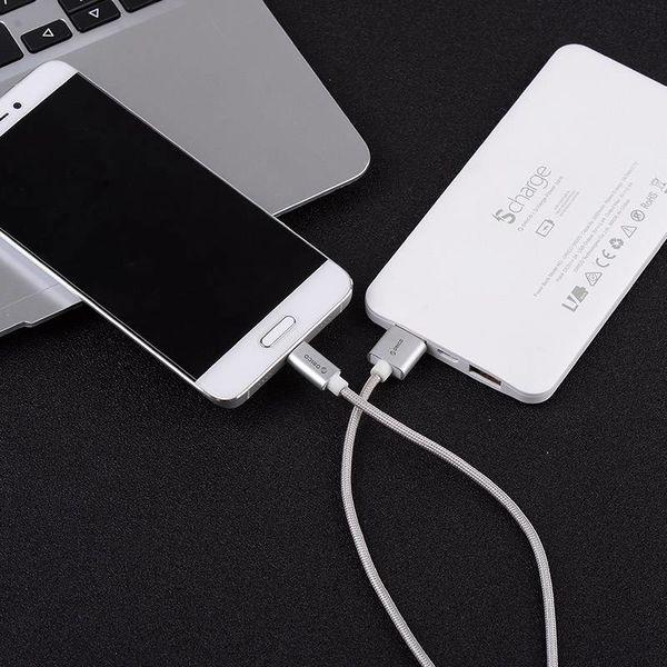 Orico USB Type-C laad- en datakabel - 3A - Gevlochten Nylon - Aluminium - 1 Meter - Zilver