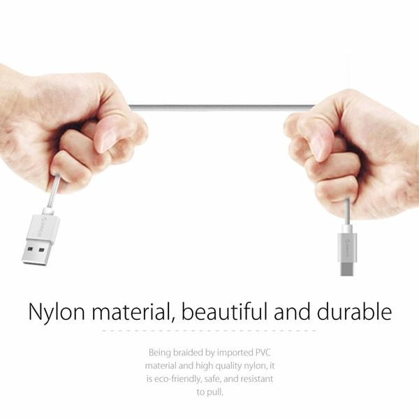 Orico USB Type-C charging and data cable - 3A - Braided Nylon - Aluminum - 1 Meter - Silver