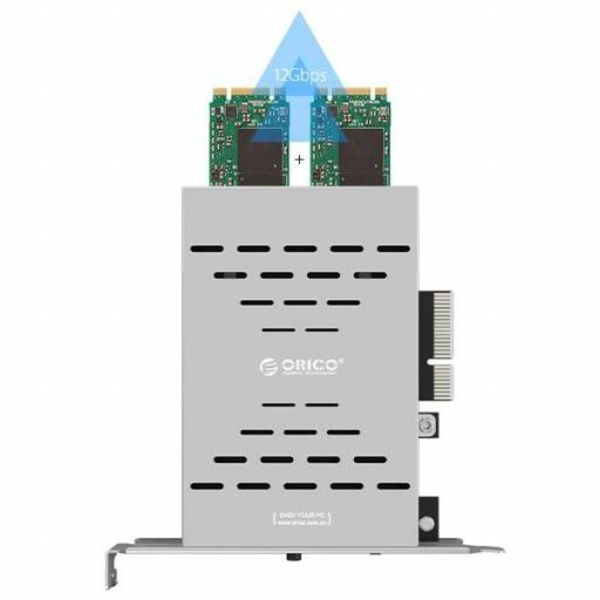 Orico Dual M.2 SSD PCIe-Erweiterungskarte - RAID0 / RAID1 / AHCI - X4-, X8-, X16-Steckplatz - PCI-e 3.0 / 2.0 / 1.0 - Silvergrey