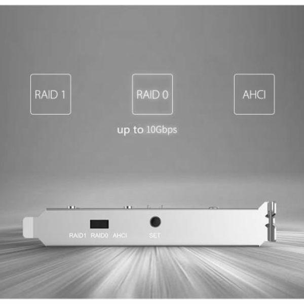 Orico Dual M.2 SSD PCIe expansion card - RAID0 / RAID1 / AHCI - X4, X8, X16 slot - PCI-e 3.0 / 2.0 / 1.0 - Silvergrey