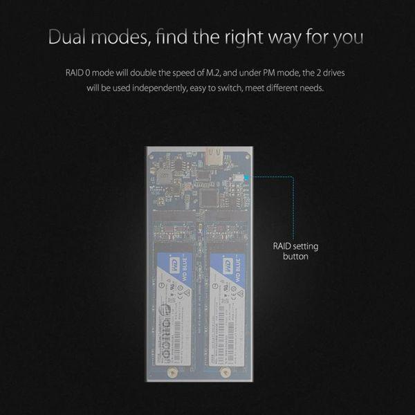 Orico Boîtier de disque dur externe en aluminium Dual Bay M.2 - RAID - Interface de type C -10 Gbps - Indicateur LED - Argent