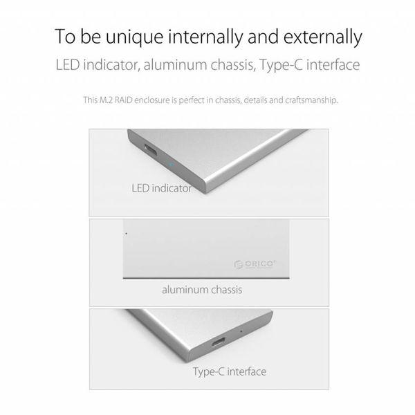 Orico Aluminium Dual Bay M.2 externe harde schijfbehuizing - RAID - Type-C interface -10Gbps - LED-indicator - Zilver