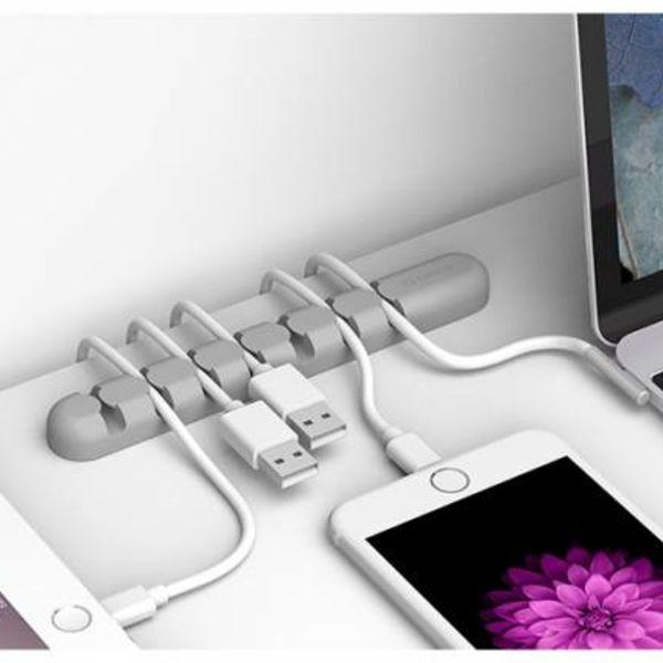 Orico Selbstklebender Kabelhalter - organisiert bis zu 7 Kabel von 5mm Dicke - Grau