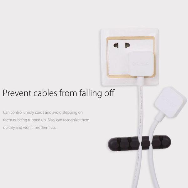 Orico Selbstklebender Kabelhalter - Organisieren Sie bis zu 5 Kabel mit einer Dicke von 5 mm - 3 m - schwarz