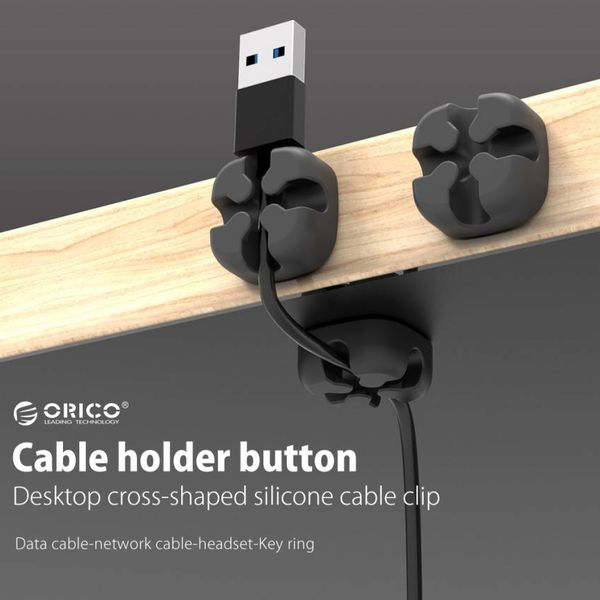 Orico Multifunctionele kabelclip - Kabelmanagement - voor kabels tot 5mm dik - 3M -  Zwart