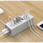 Orico Hub USB 3.0 en aluminium avec 7 ports - Incl. Adaptateur secteur 12V - Argent