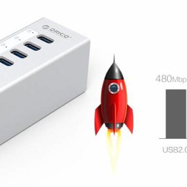 Orico Aluminium USB 3.0 Hub mit 7 Anschlüssen - Inkl. 12V Netzteil - Silber