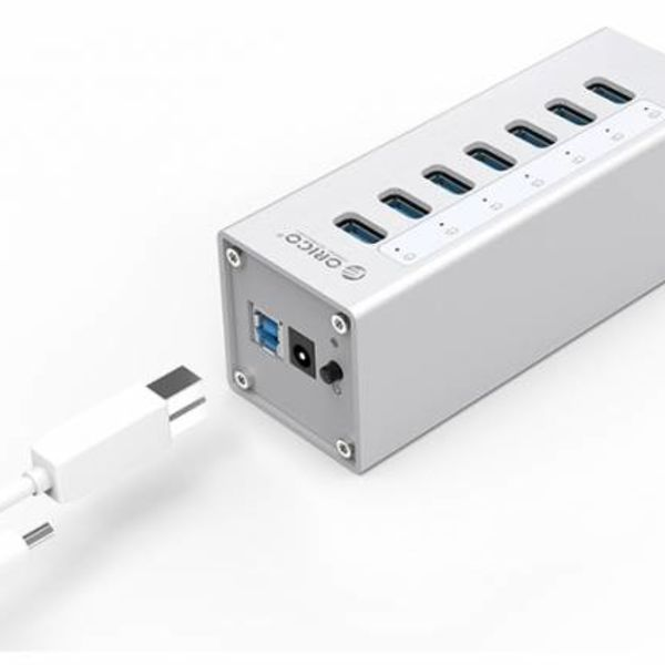 Orico Alu 7 Port USB 3.0 HUB with 12V power adapter - Silver