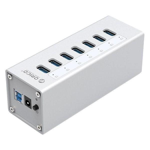 Orico Aluminium USB 3.0 Hub met 7 poorten - Incl. 12V stroom adapter - Zilver
