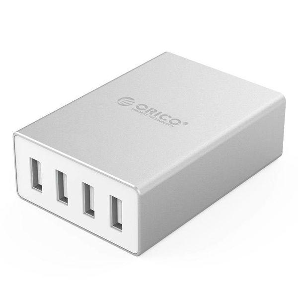 Orico Aluminium-Tischladegerät mit 4 USB-Ladeanschlüssen und intelligenter Geräteerkennung - LED-Anzeige - Silber