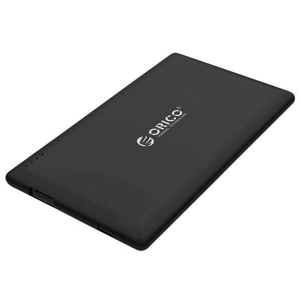Orico Silky smooth power bank 8000mAh - Lithium-Polymer (Li-Po) battery - 25% / 50% / 75% / 100% LED indicator - Incl. Data cable - Black