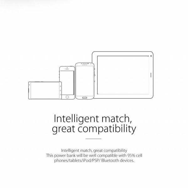 Orico Banque d'alimentation lisse et soyeuse 8000mAh - Batterie au lithium-polymère (Li-Po) - Indicateur LED 25% / 50% / 75% / 100% - Incl. Câble de données - Noir