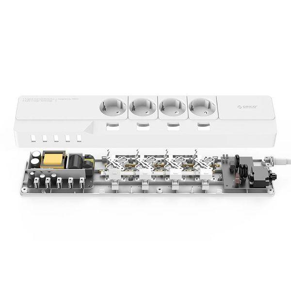 Orico USB stekkerdoos met 4 stopcontacten en aan/uit schakelaar - 5 USB-laadpoorten - Voorzien van overspanningsbeveiliging - Kabellengte: 1.5 meter - Wit